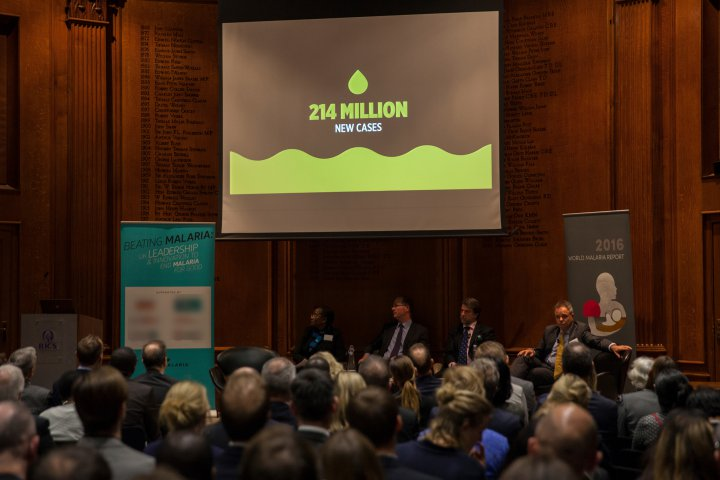 Photo credit: Zute Lightfoot<br><br>The room is full for the presentation of the <em>World Malaria Report 2016</em>.