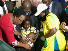Elian Koech was the first child to receive the malaria vaccine today in Kenya.